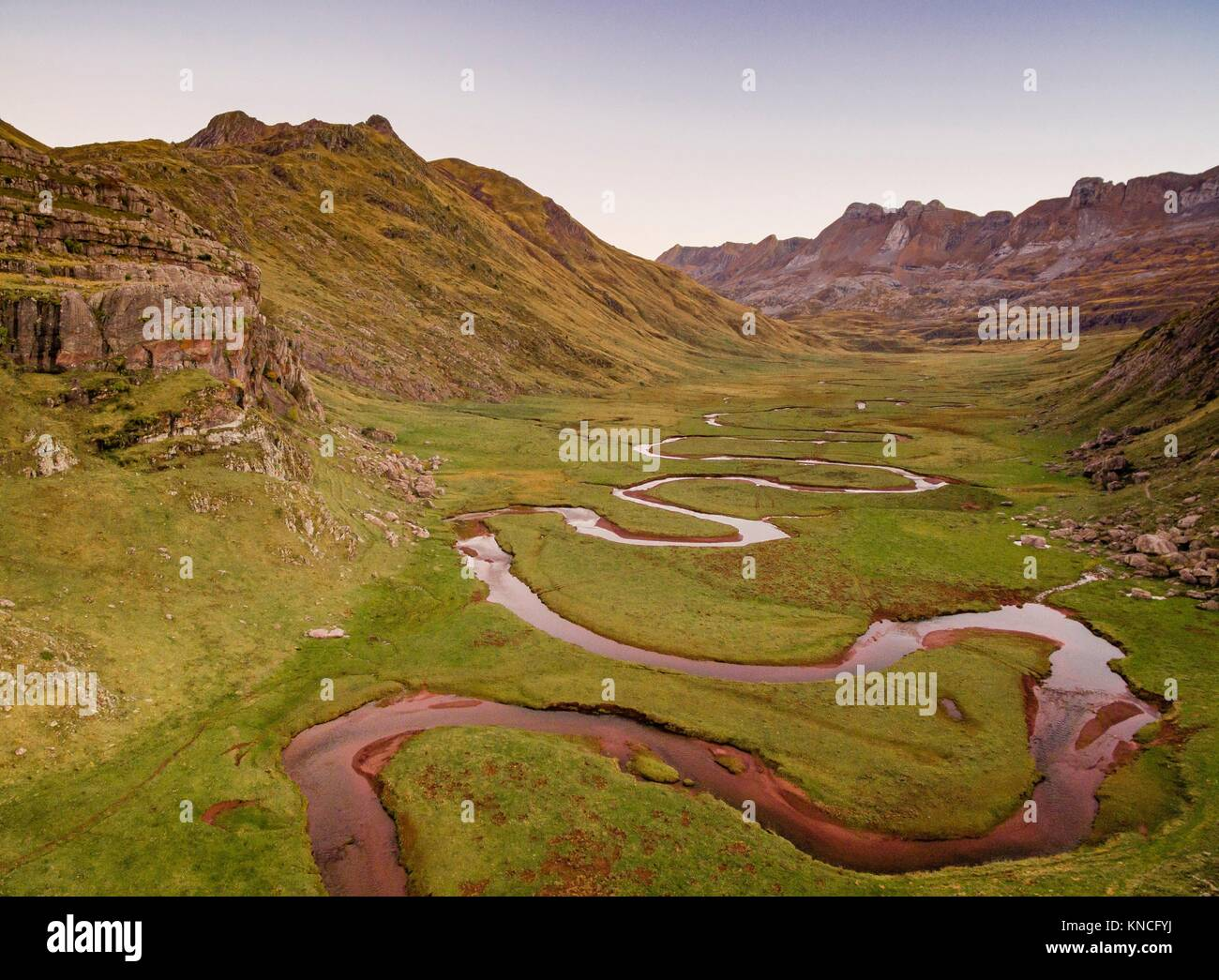 Aragon Subordan river, Aguas Tuertas, Guarrinza, Municipality of Anso, Valley of Hecho, western valleys, Pyrenean Stock Photo