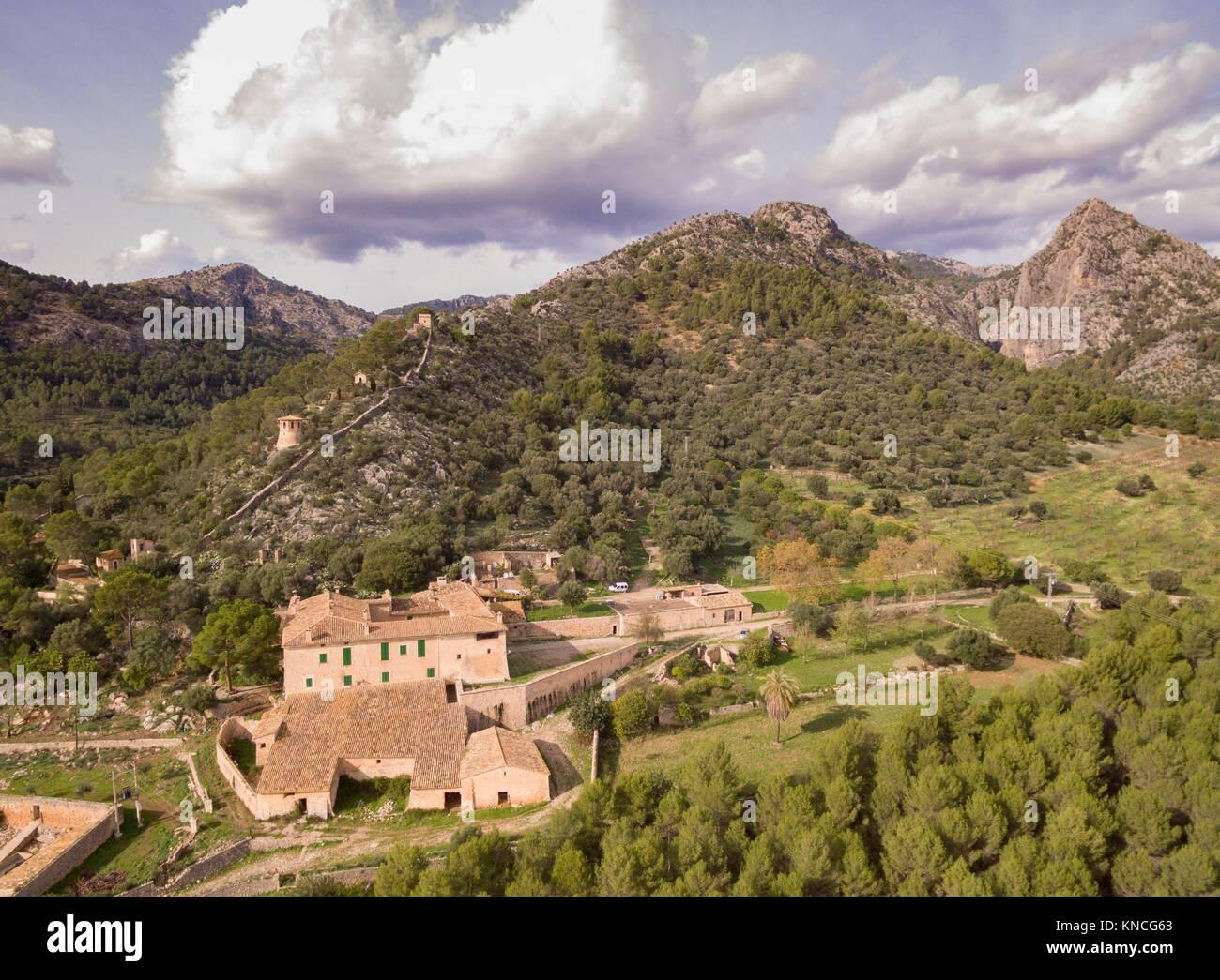 Biniazar, possession of Arab origin, Bunyola municipality, Mallorca, Balearic Islands, Spain. - Stock Image