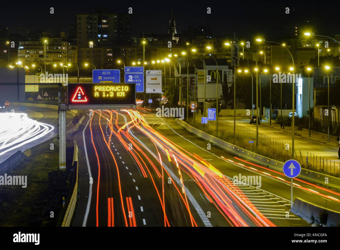 Ma-19 ,Autopista de Levante , Palma, Mallorca, balearic islands, spain, europe. - Stock Image