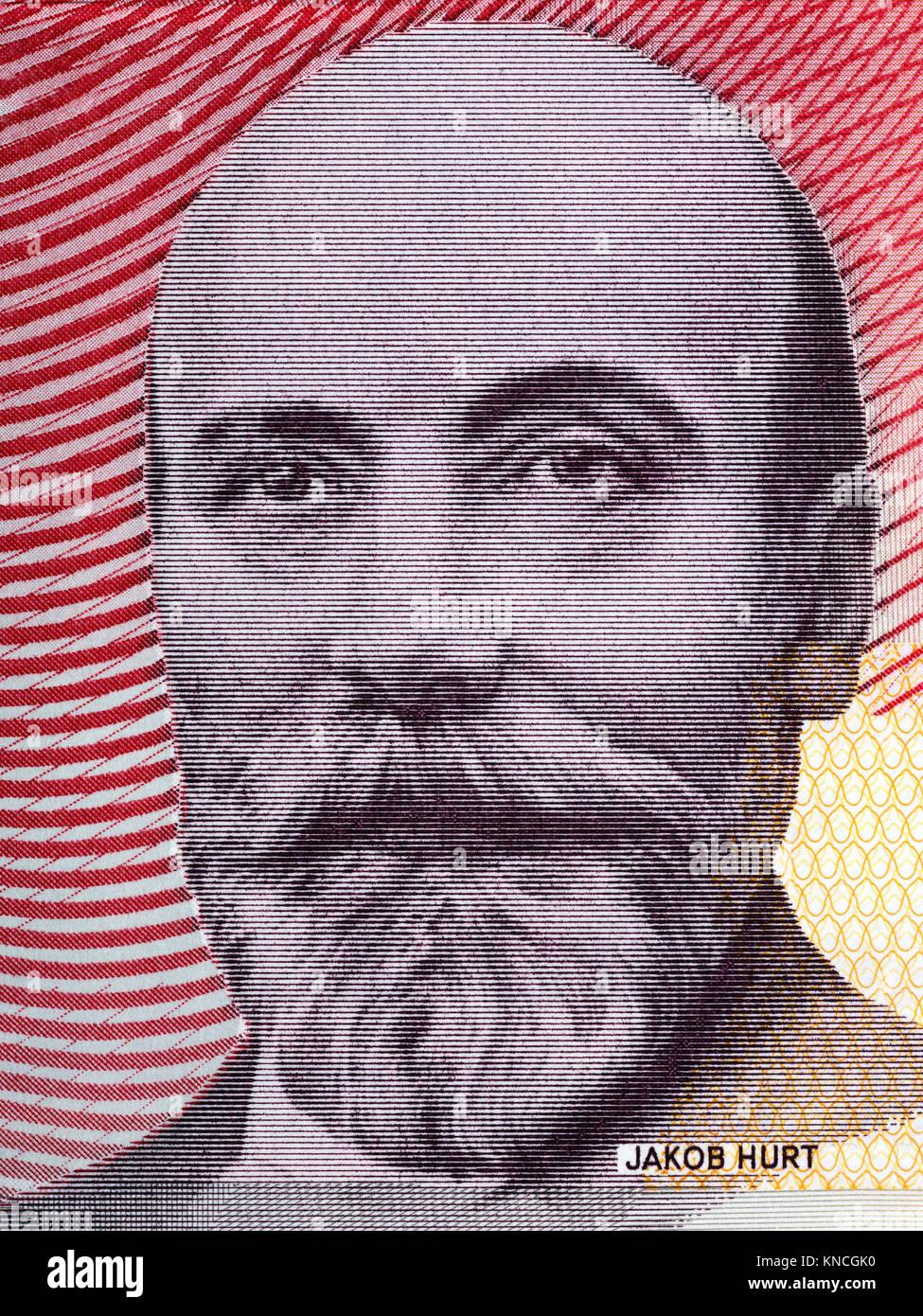 Jakob Hurt portrait from Estonian money - Stock Image