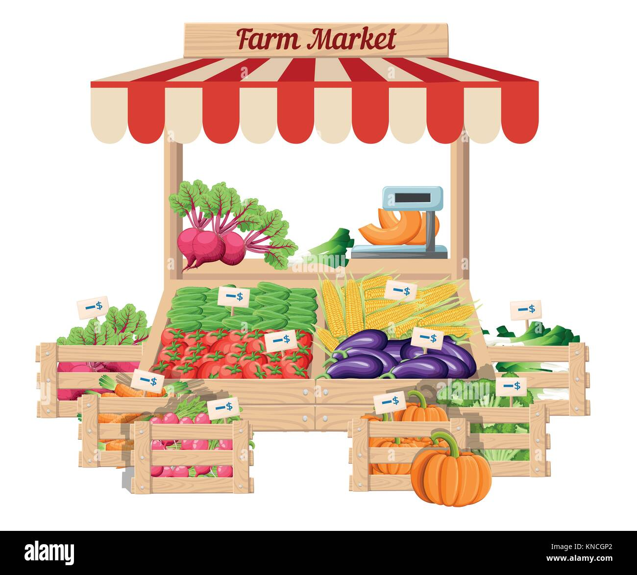Front view market wood stand with farm food and vegetables in box with weights and price tags vector illustration Stock Vector