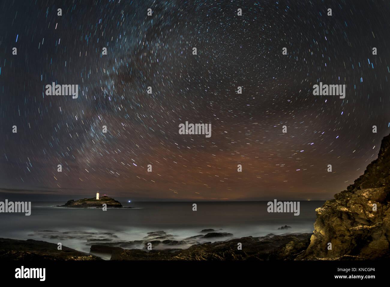 Godrevy; Star Trails; Cornwall; UK - Stock Image