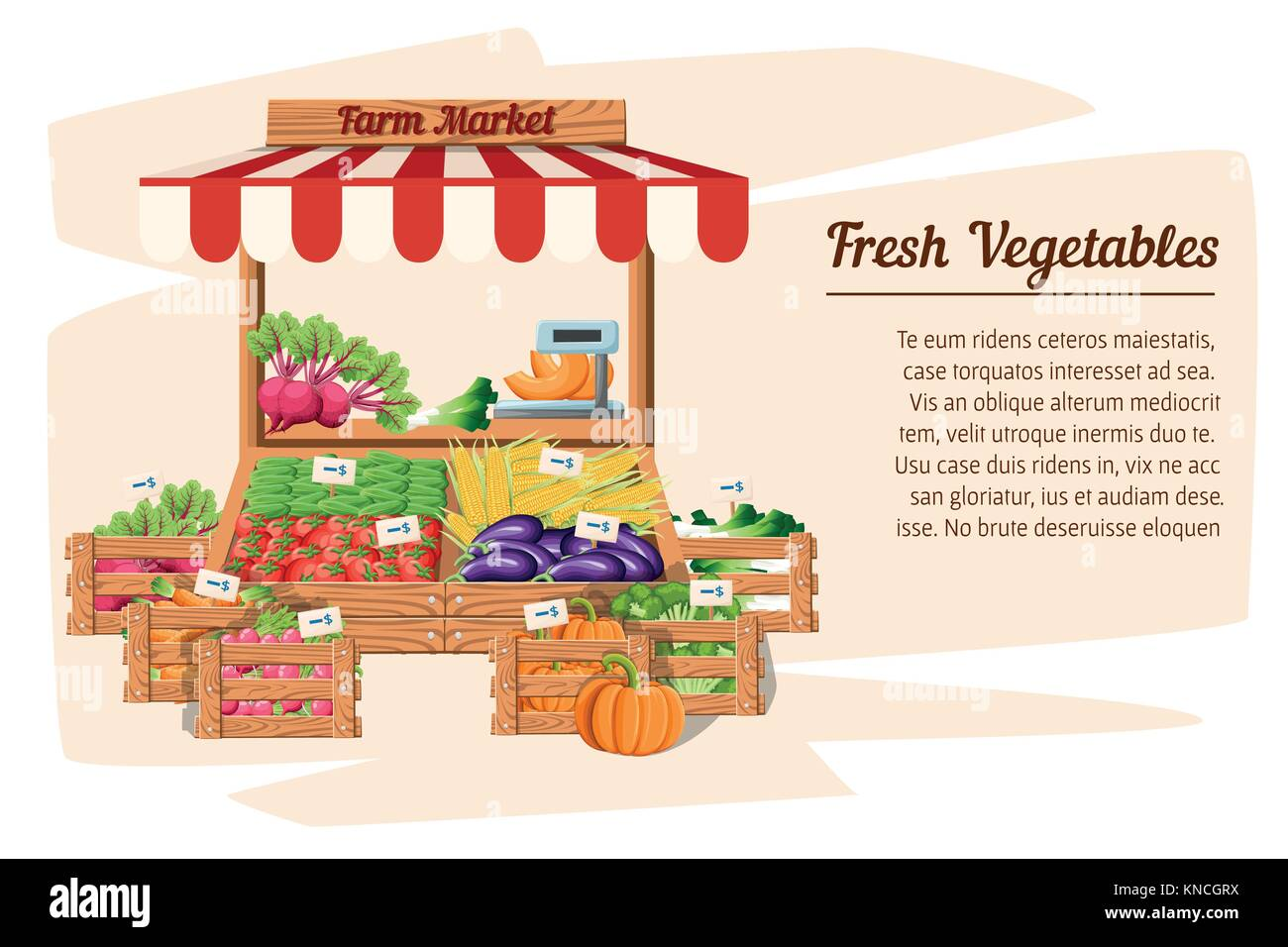Front view market wood stand with farm food and vegetables in open box vector with weights and price tags illustration Stock Vector