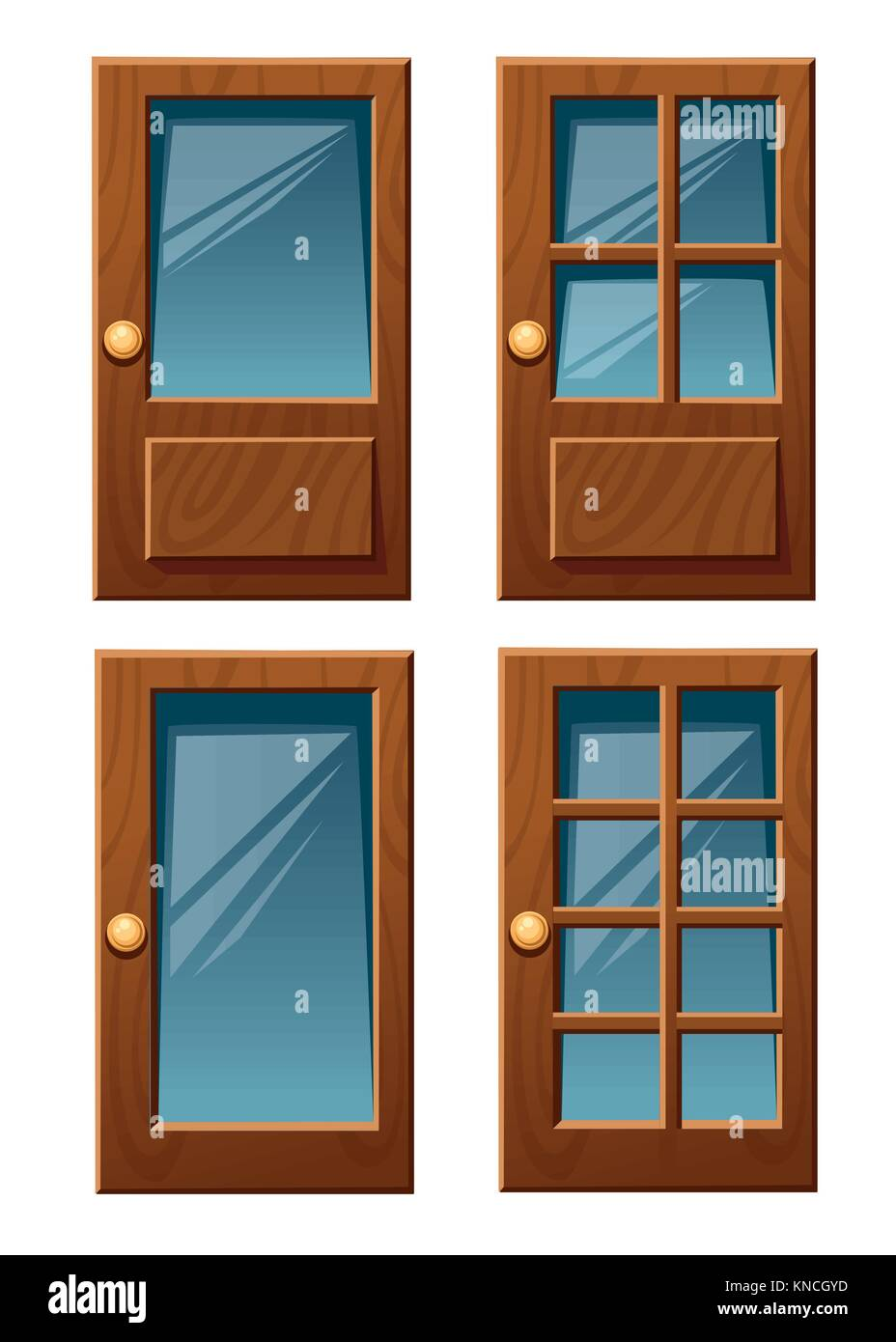 Vector collection of various wooden house doors with glass flat style vector illustration isolated on white background - Stock Image