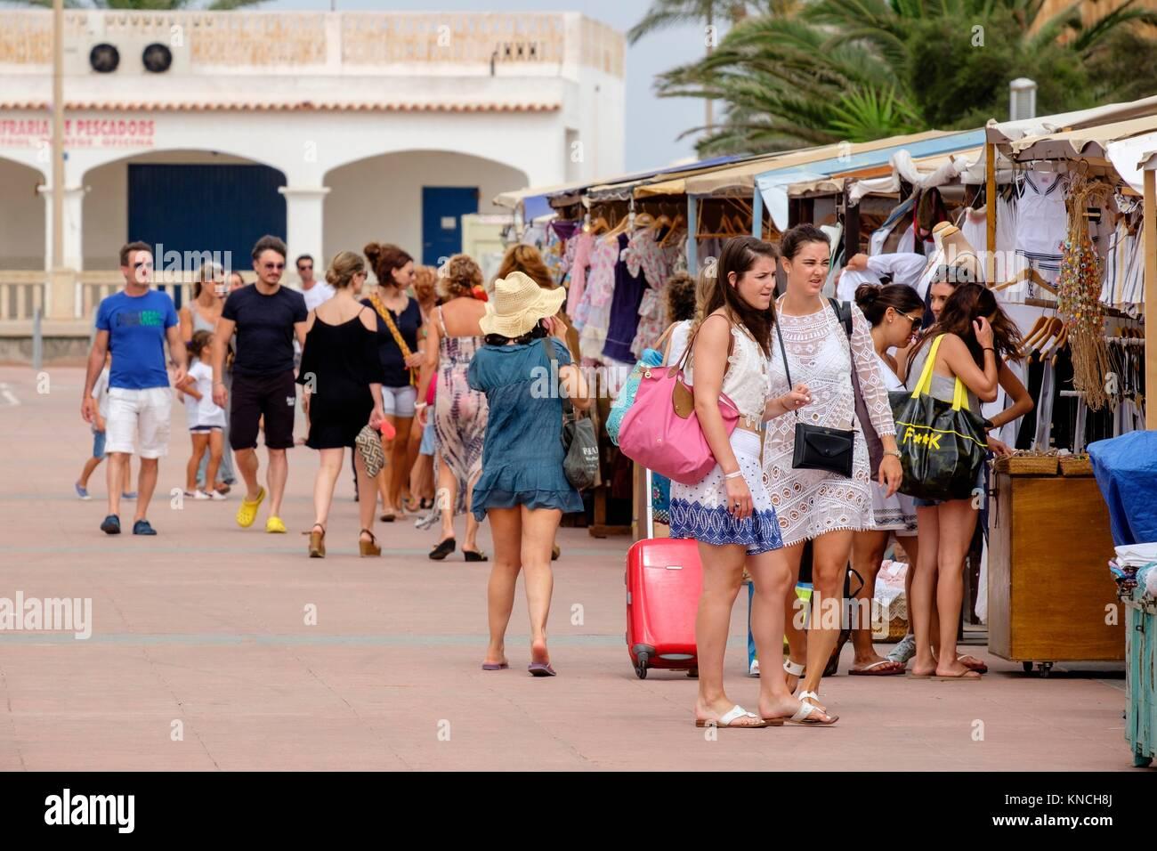 Flea market, Sa Savina, Formentera, Balearic Islands, Spain. - Stock Image