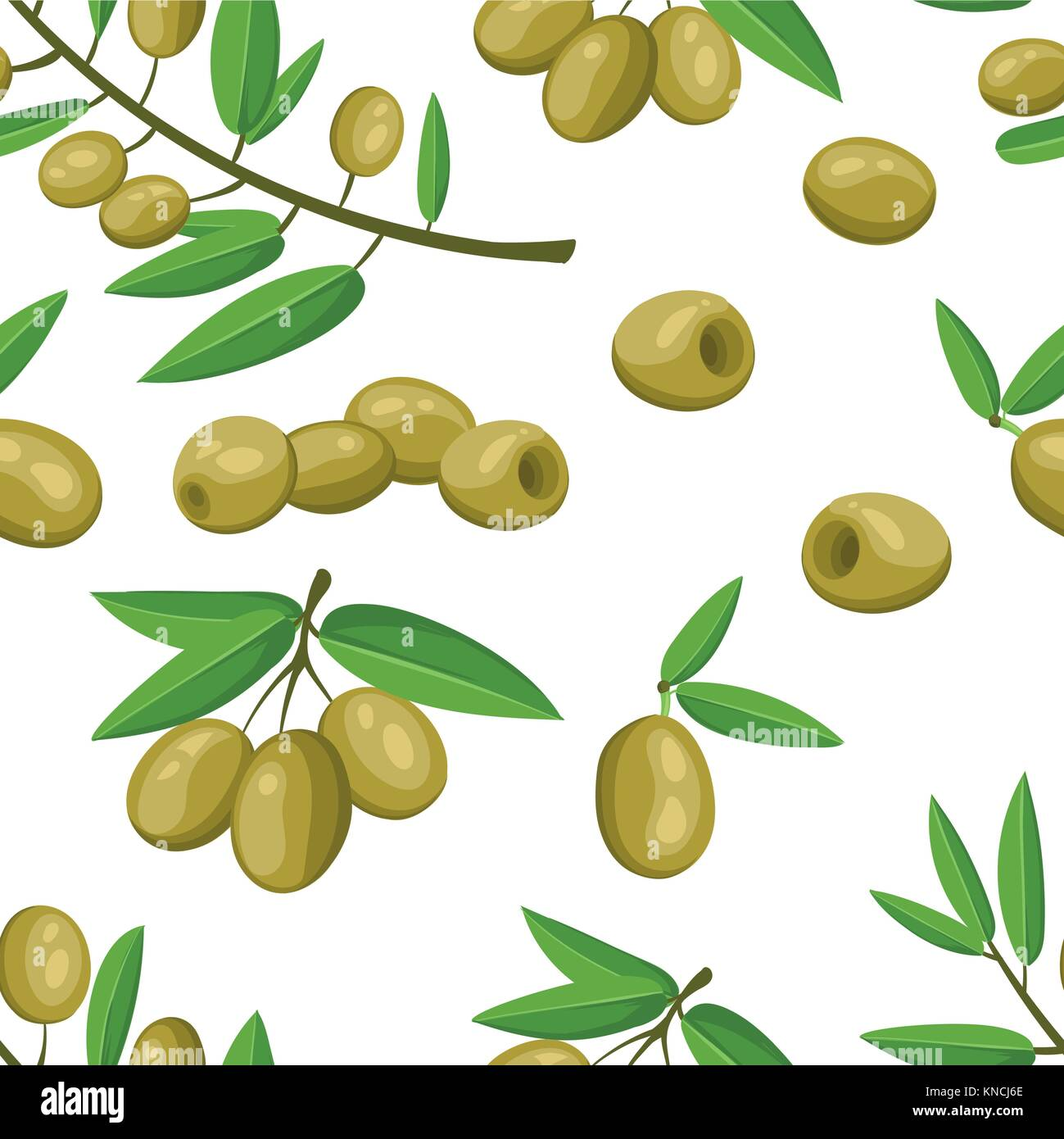 Seamless pattern green olives branch with leaves healthy vegetables and vegetarian fresh organic food vector illustration - Stock Vector