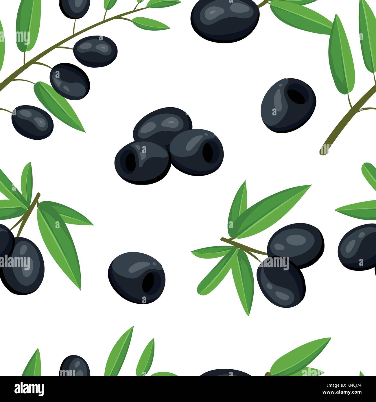 Seamless pattern black olives branch with leaves healthy vegetables and vegetarian fresh organic food vector illustration - Stock Vector
