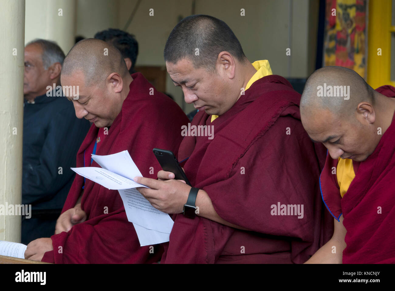 Buddhist monks at His Holiness Dalai Lama Main Temple in McLeod Ganj, India - Stock Image