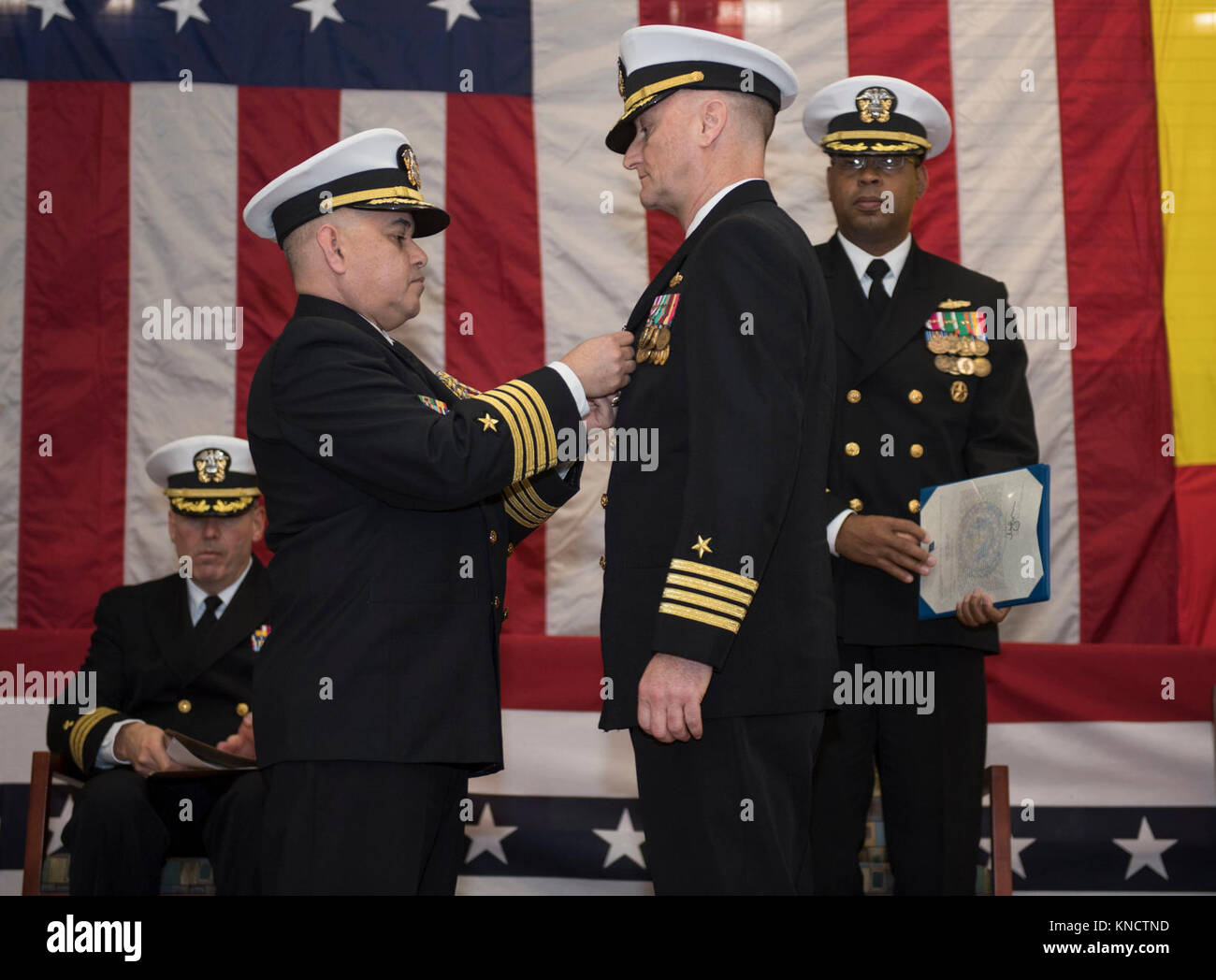 Capt  Lawrence Vasquez, left, chief of staff, Navy Region