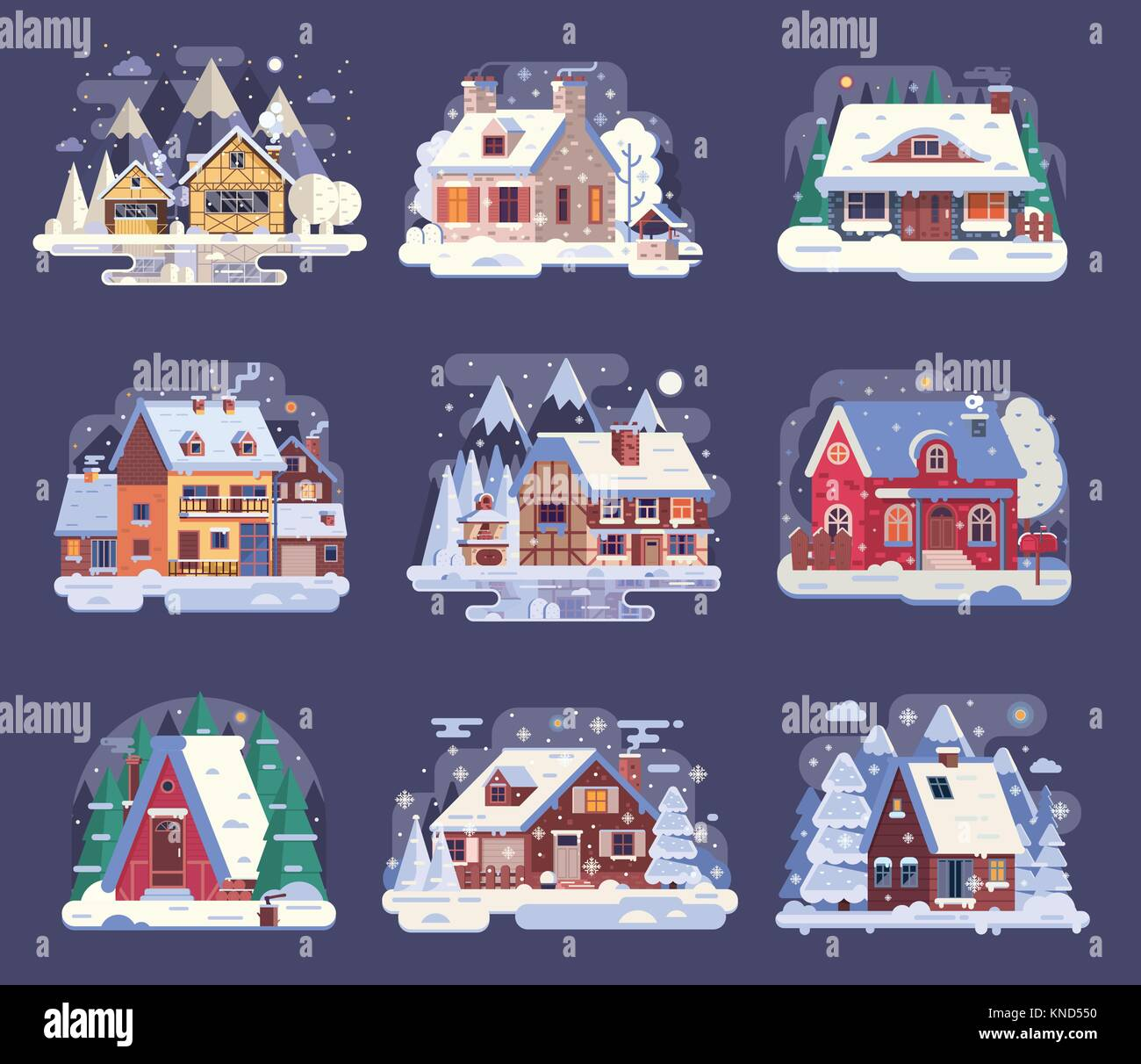 Winter Country House and Cabin Set - Stock Vector