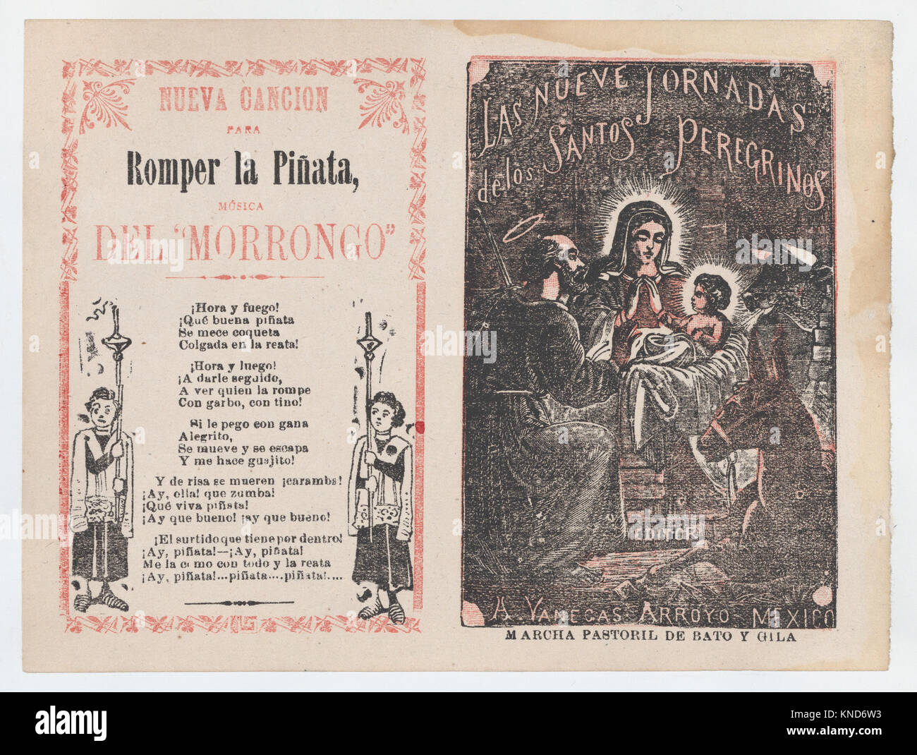 Cover for 'Las Nueve Jornadas de los Santos Peregrinos', Holy Family in the manger MET DP868376 Cover for - Stock Image