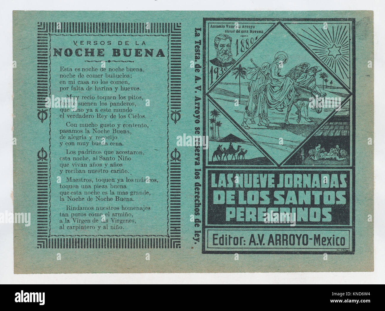 Cover for 'Las Nueves Jornadas de los Santos Peregrinos', Mary on horseback and Joseph being guided through - Stock Image