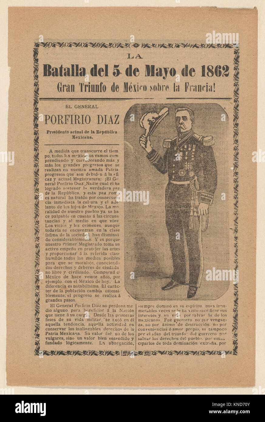 Broadside relating to a news story about the Mexican victory over the French army on May 5, 1862, General Porfirio Stock Photo