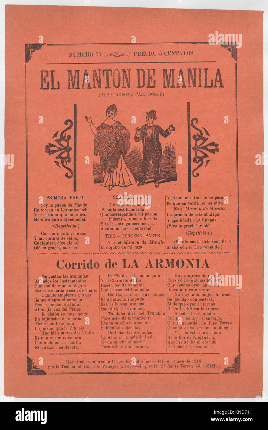 Broadsheet with songs for a two-step dance, a couple dancing