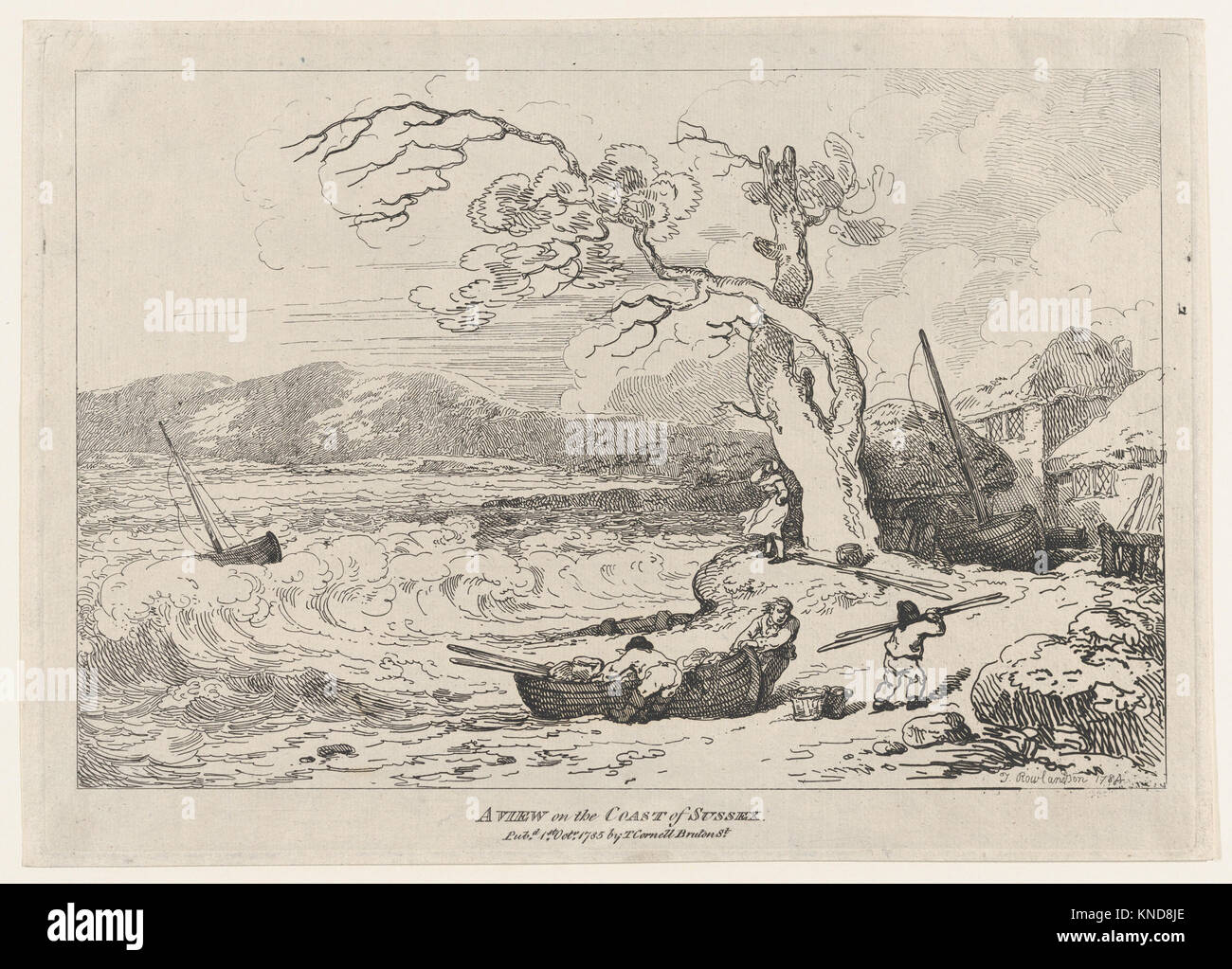 A View on the Coast of Sussex MET DP871854 392965 Artist: Thomas Rowlandson, British, London 1757?1827 London, Publisher: - Stock Image