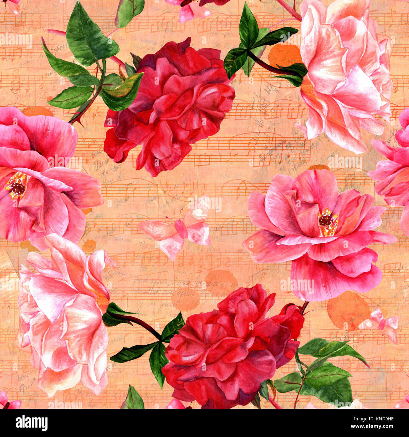 Seamless roses and butterflies with old ephemera - Stock Image