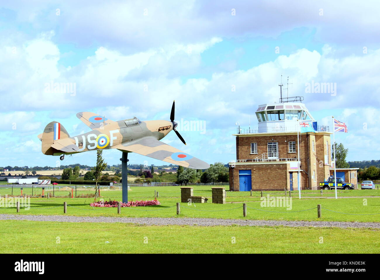 The control tower at North Weald aerodrome - Stock Image