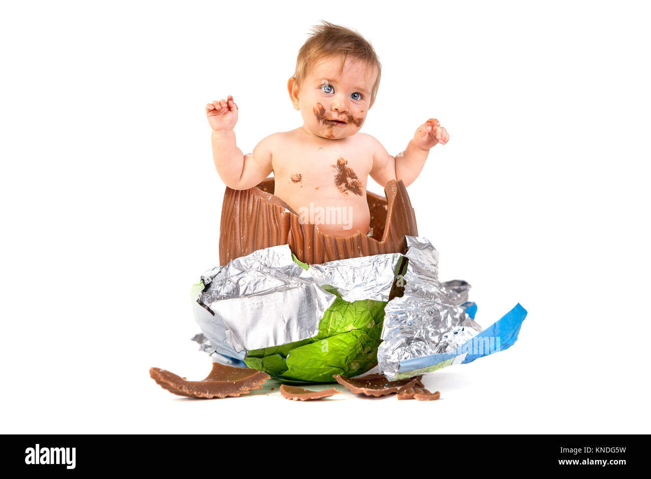 Sweet baby inside an easter egg isolated in white stock photo sweet baby inside an easter egg isolated in white negle