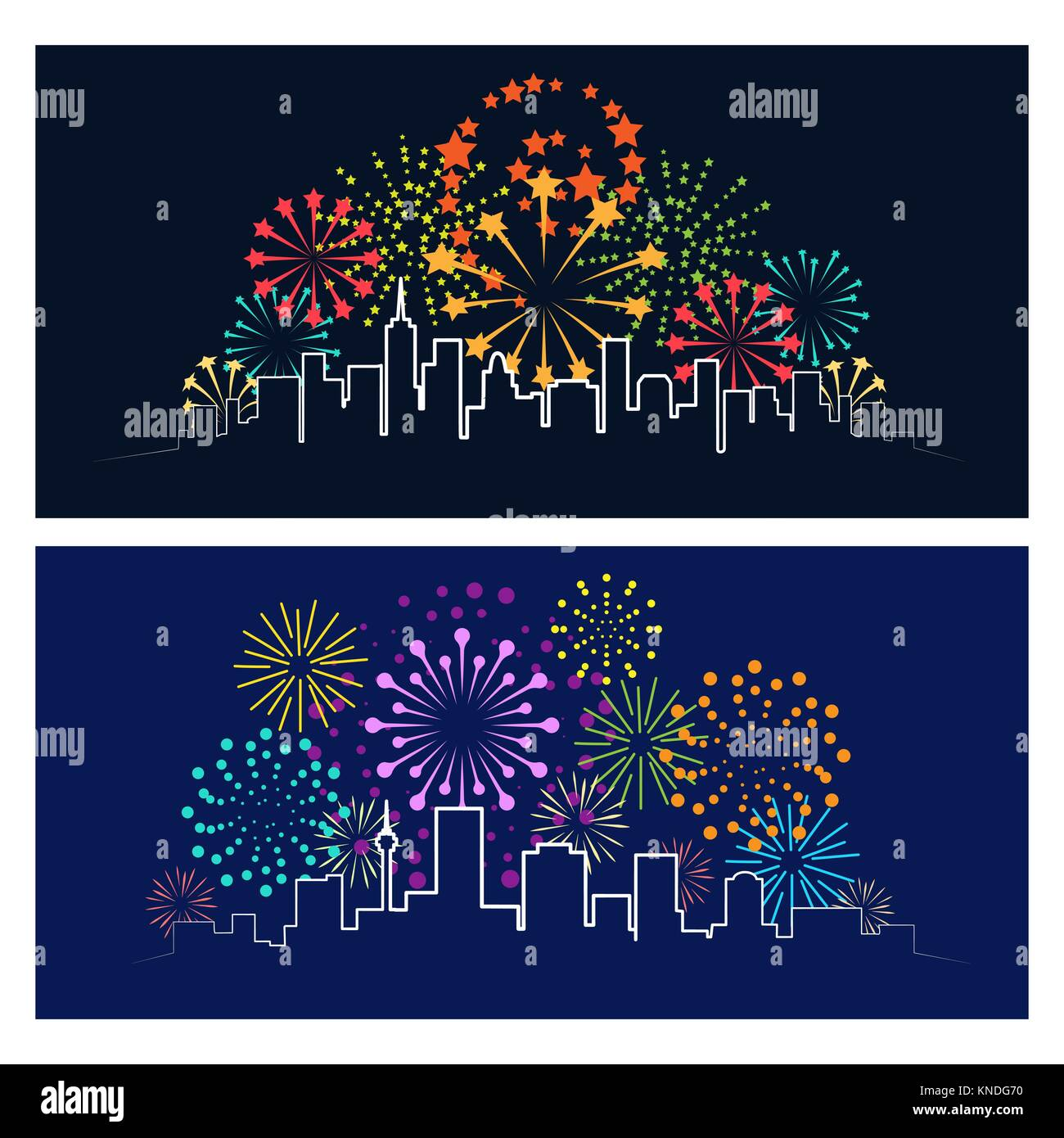 Fireworks city skyline. Celebrating firework over night town panorama, urban festive party landscape concept vector - Stock Image