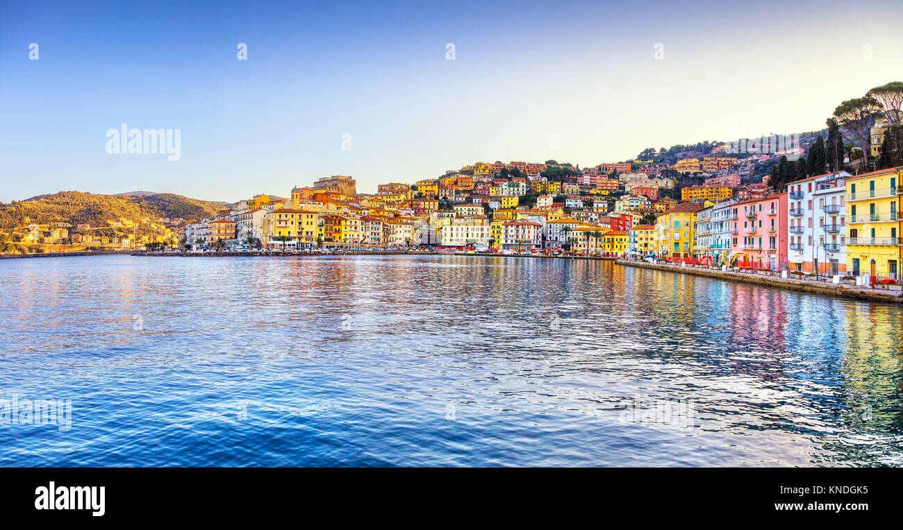 Porto Santo Stefano panoramic view of seafront, italian travel destination. Monte Argentario, Tuscany, Italy. - Stock Image