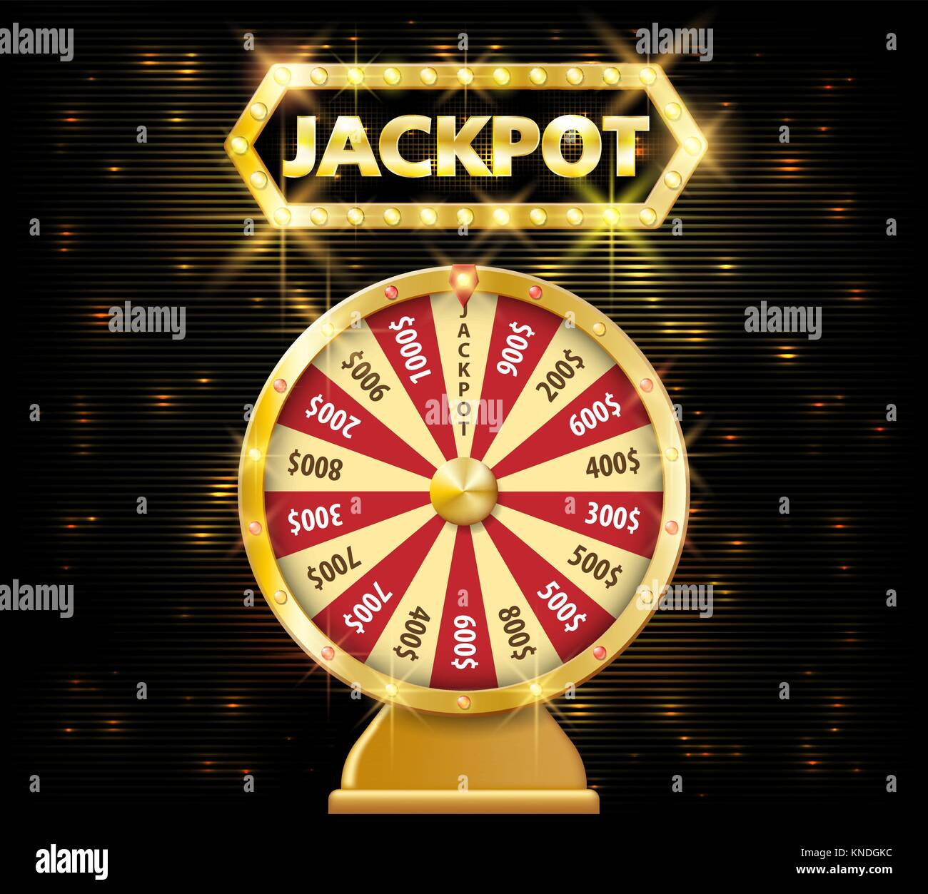 Gold realistic fortune wheel 3d object isolated on dark background with jackpot text. lucky fortune wheel e vector - Stock Vector