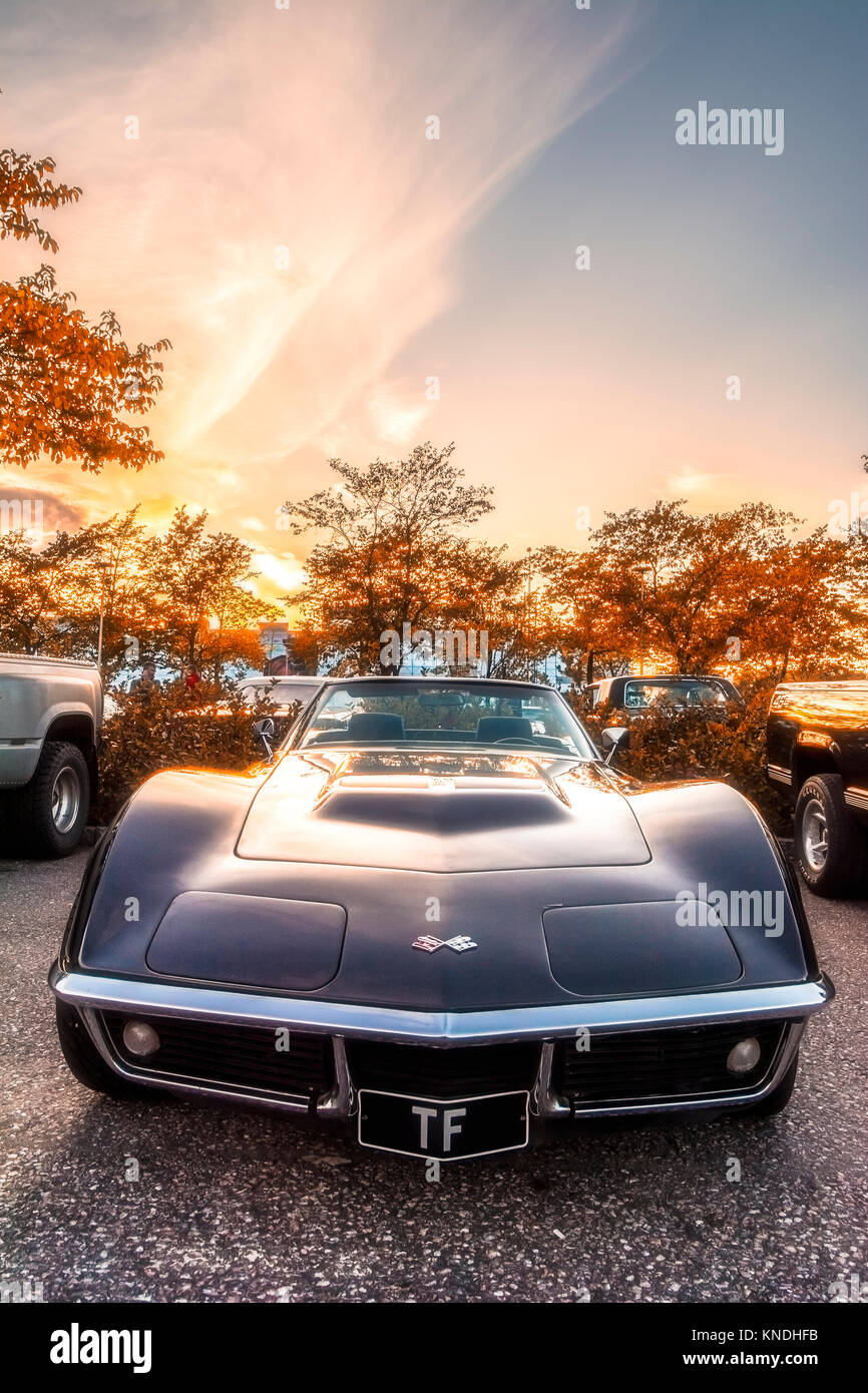 The gorgeous Corvette features a beautiful shade in the colors of autumn colors - Stock Image