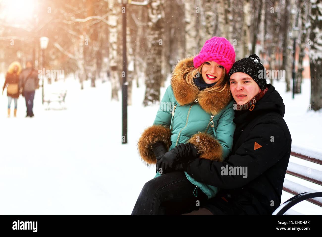 lover heterosexuals on a date in the winter - Stock Image