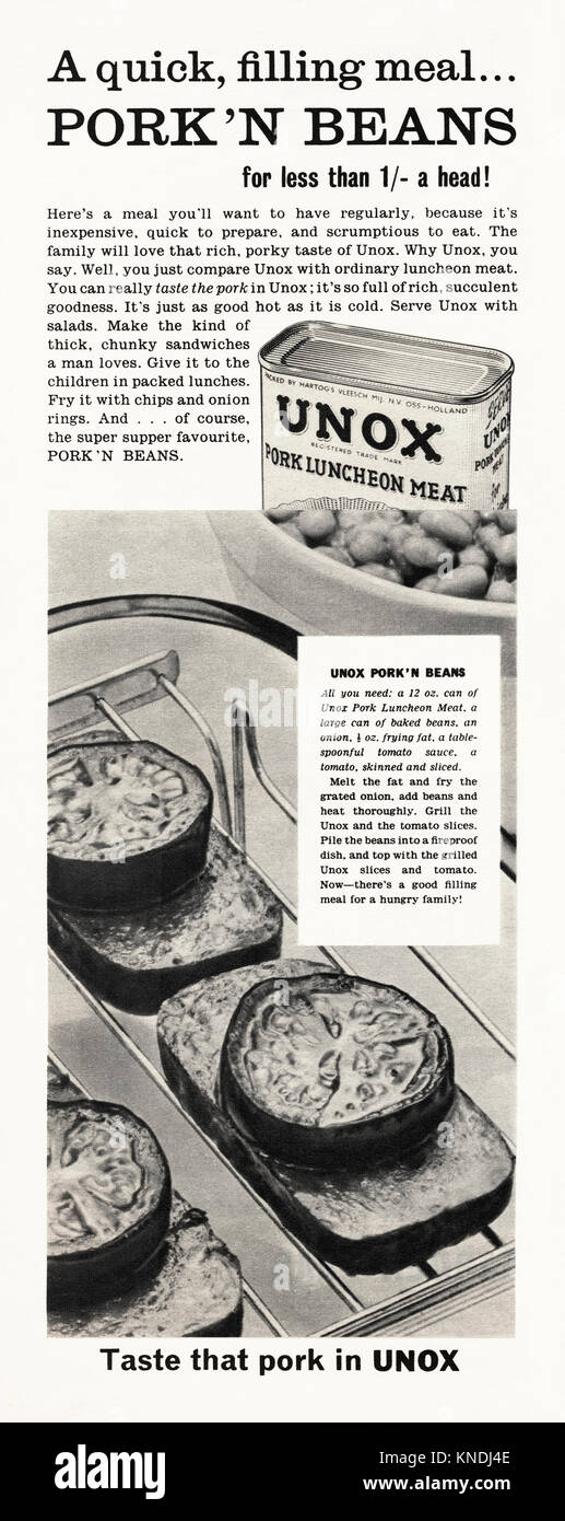 Old advert for canned Unox Pork Luncheon Meat. It appeared in a magazine published in the UK in 1959. Luncheon meats - Stock Image