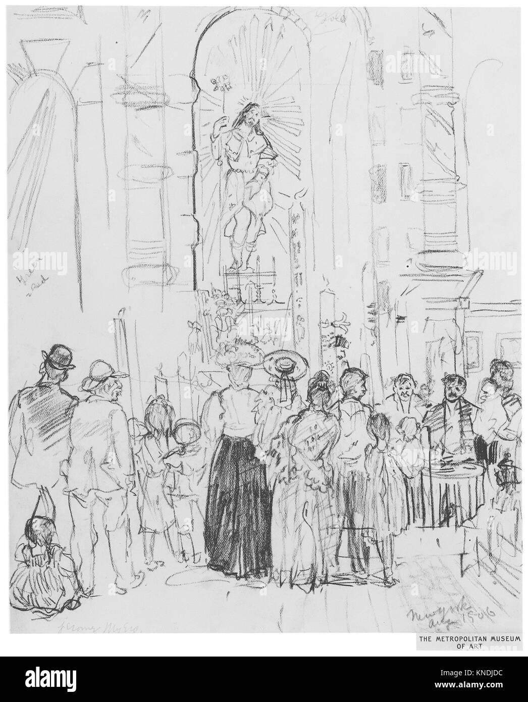 Street Shrine, New York. Artist: Jerome Myers (American, Petersburg, Virginia 1867-1940 New York); Date: 1906; Medium: Stock Photo
