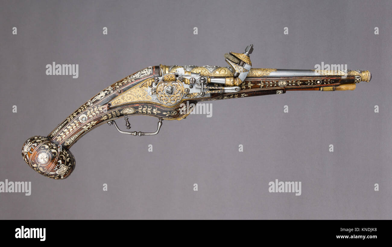 Pair of Wheellock Pistols. Designer: Decoration on the stocks copied in part from engravings by Étienne Delaune - Stock Image