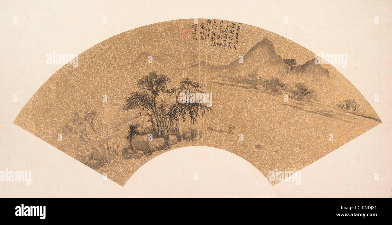 Landscape. Artist: Unidentified Artist; Artist: After Wen Zhengming (Chinese, 1470-1559); Period: Ming dynasty (1368 - Stock Image
