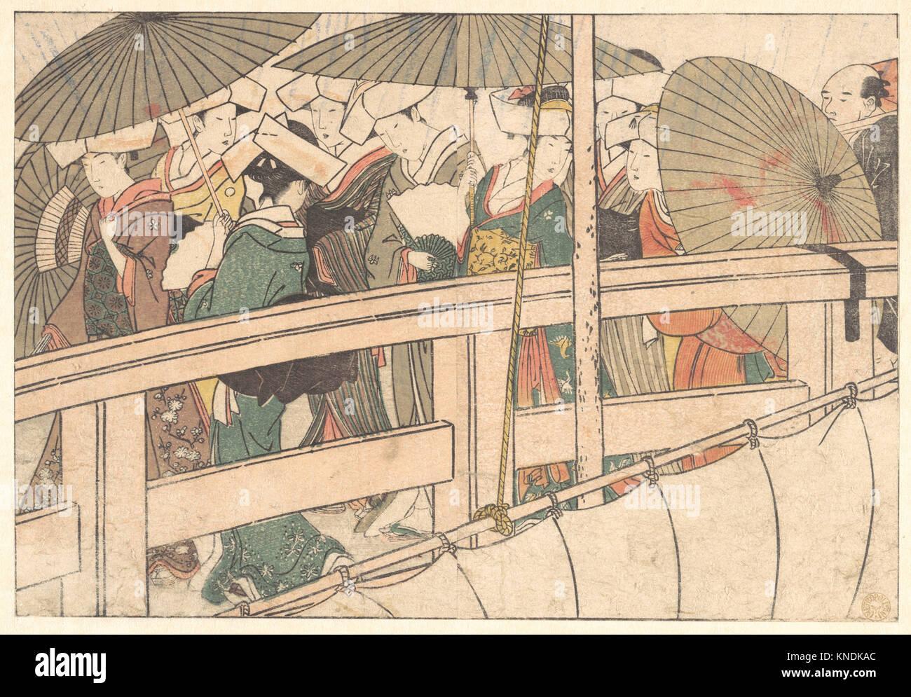 四季の花/Women on a Bridge, from the illustrated book Flowers of the - Stock Image