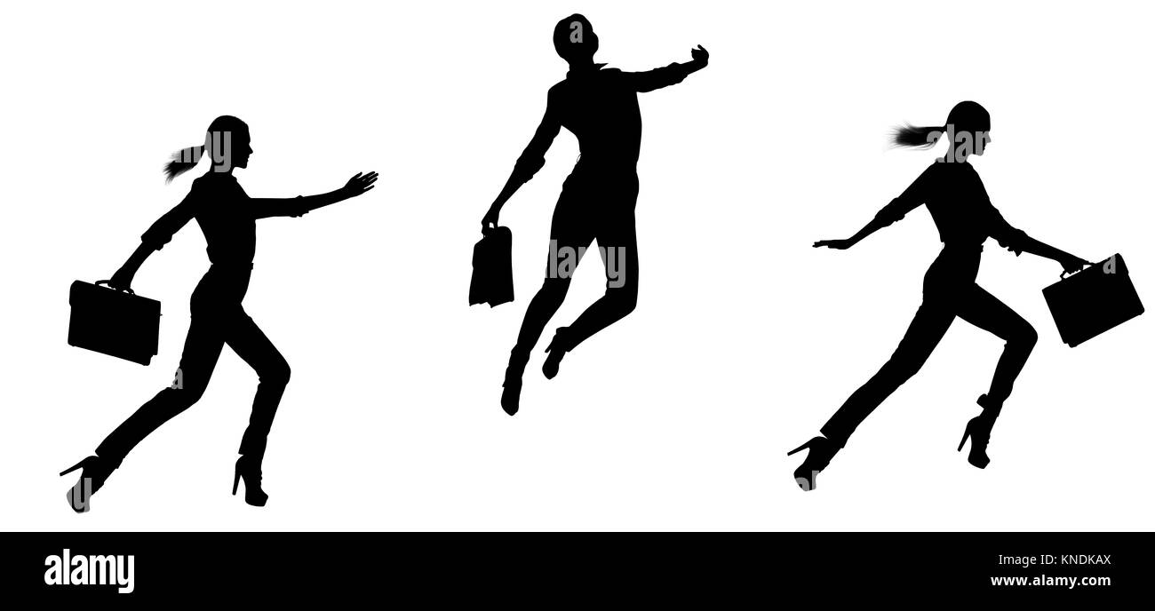 Collage of woman's silhouette jumping. - Stock Image
