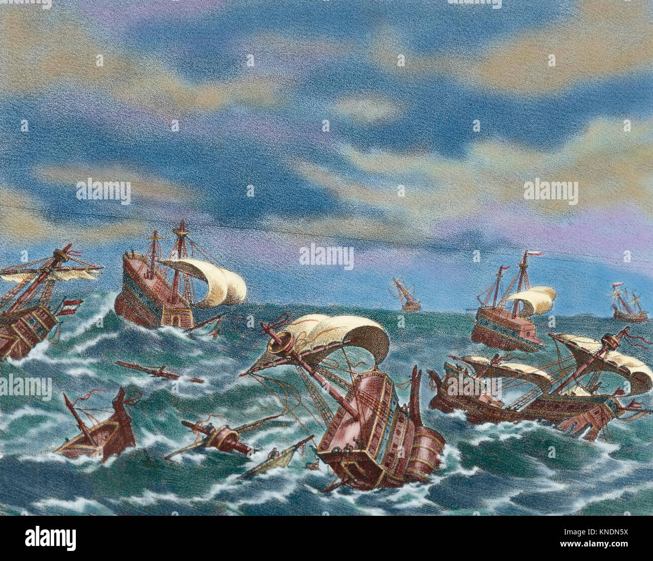 Spanish Armada. Spanish fleet sent by Spanish king Philip II (1527-1598) against England in 1588, under the command Stock Photo