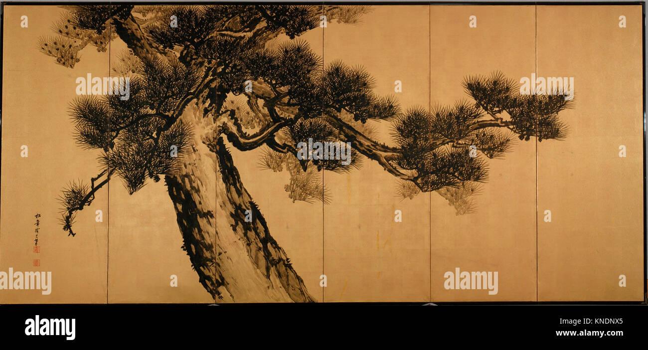 Great Pines. Artist: Suzuki Shonen (Japanese, 1849-1918); Period: Meiji period (1868-1912); Date: late 19th century; - Stock Image