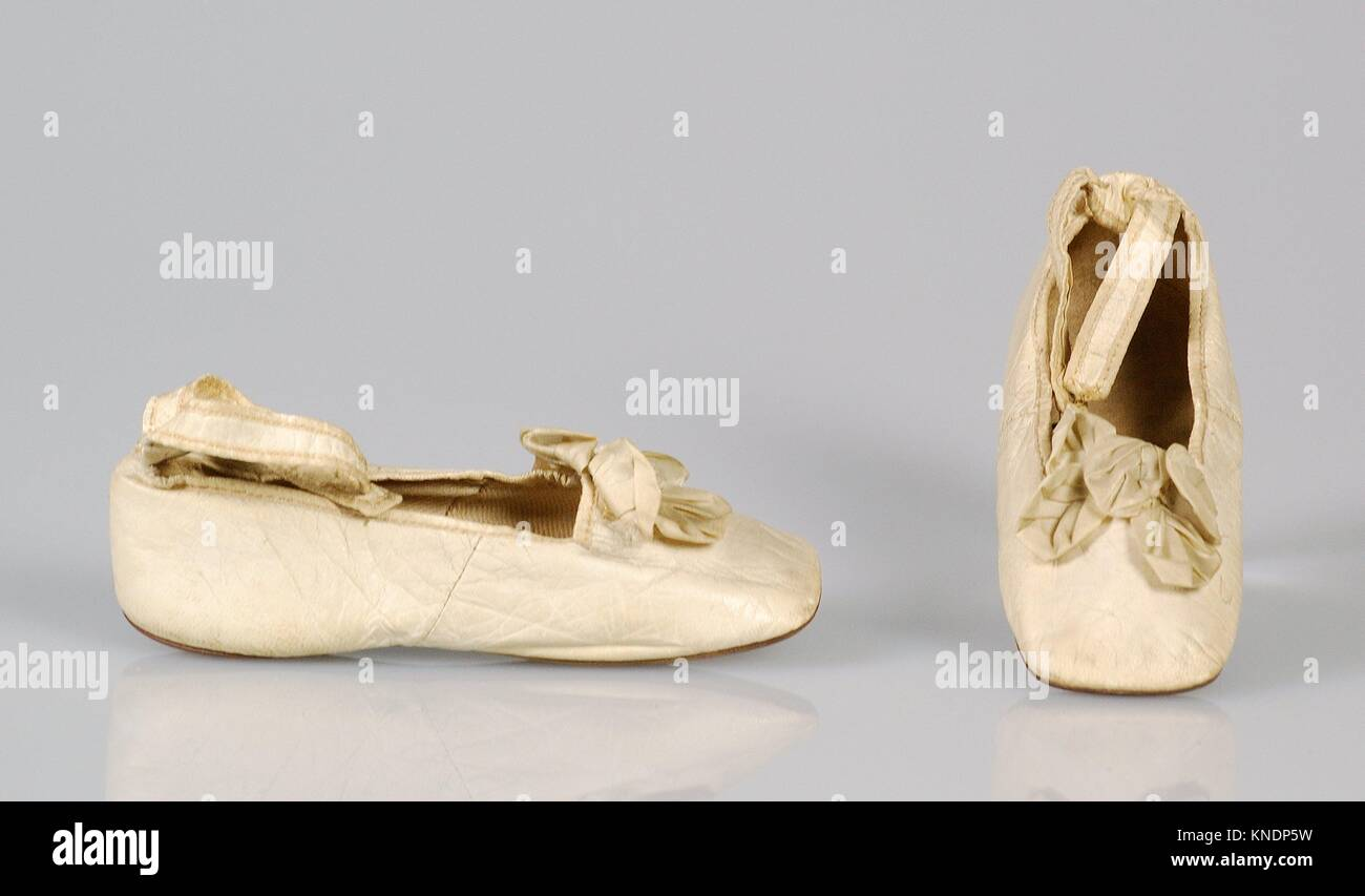 Shoes. Retailer: Jeffers French Shoes; Date: 1866; Culture: French; Medium: Leather; Credit Line: Brooklyn Museum - Stock Image