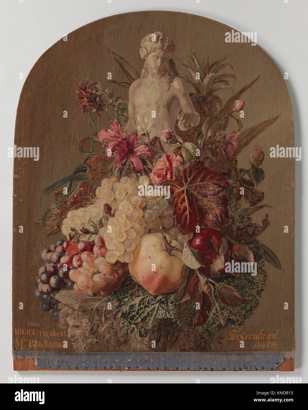 Still Life, Autumn. Artist: After a painting by Theude Grönland (German, 1817-1876); Maker: Woven by Rigobert - Stock Image