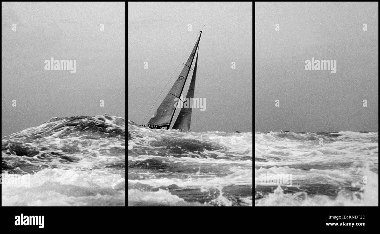 Costa Smeralda, Sardinia. Maxi yacht regatta  (Triptych: picture molded into 3 fields for printing decorative panels) - Stock Image