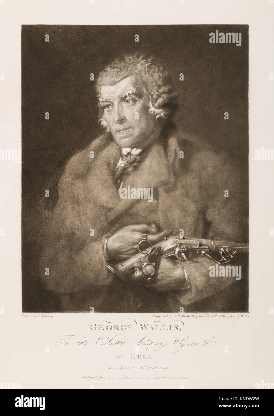 George Wallis, The Late Celebrated Antiquary and Gunsmith of Hull. Engraver: Engraved by John Raphael Smith (British, - Stock Image
