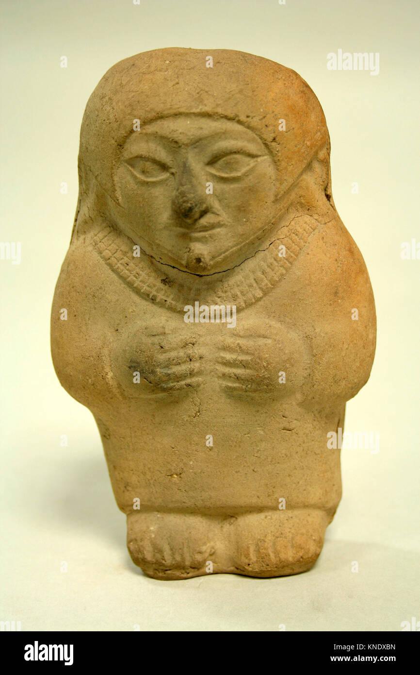 Standing Ceramic Figure. Date: 3rd-5th century; Geography: Peru; Culture: Moche; Medium: Ceramic; Dimensions: H - Stock Image