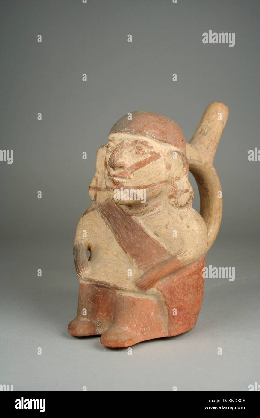 Stirrup Spout Bottle with Seated Figure. Date: 6th-7th century; Geography: Peru; Culture: Moche; Medium: Ceramic, - Stock Image