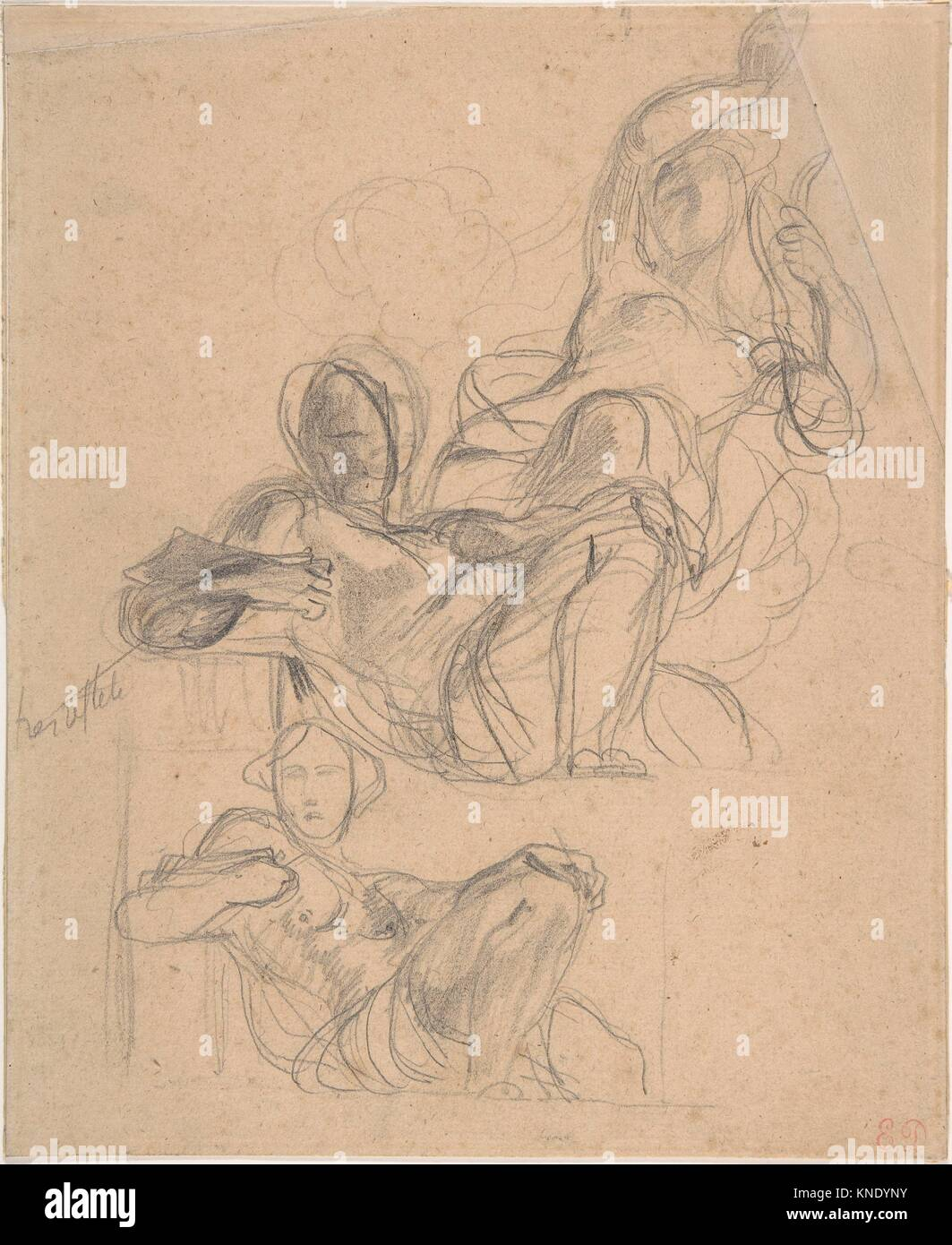 Sheet of figure studies: two studies of a reclining figure, and a seated figure holding a lyre (?). Artist: Eugène - Stock Image