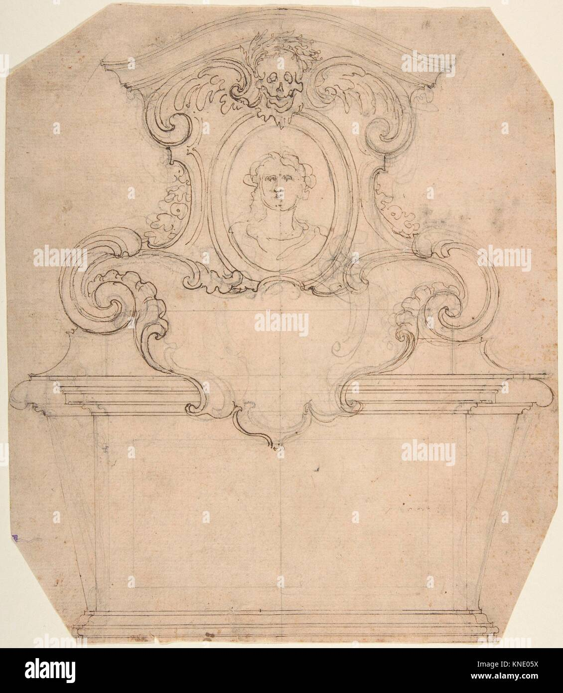 Design for a Tomb of Epitaph (recto); An Unfinished Variation of a Tomb or Epitaph (verso). Artist: Attributed to - Stock Image