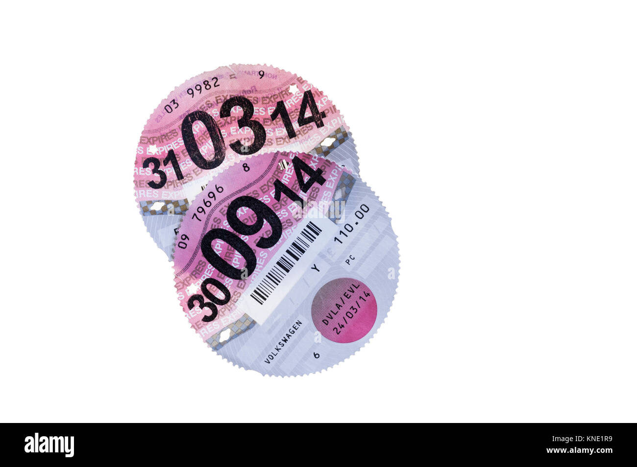 Paper road tax disc 2014 vehicle taxation. - Stock Image