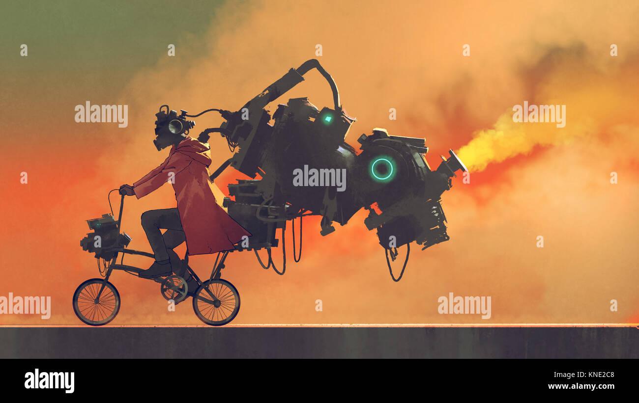 robot man on a bike designed with futuristic machines, digital art style, illustration painting - Stock Image