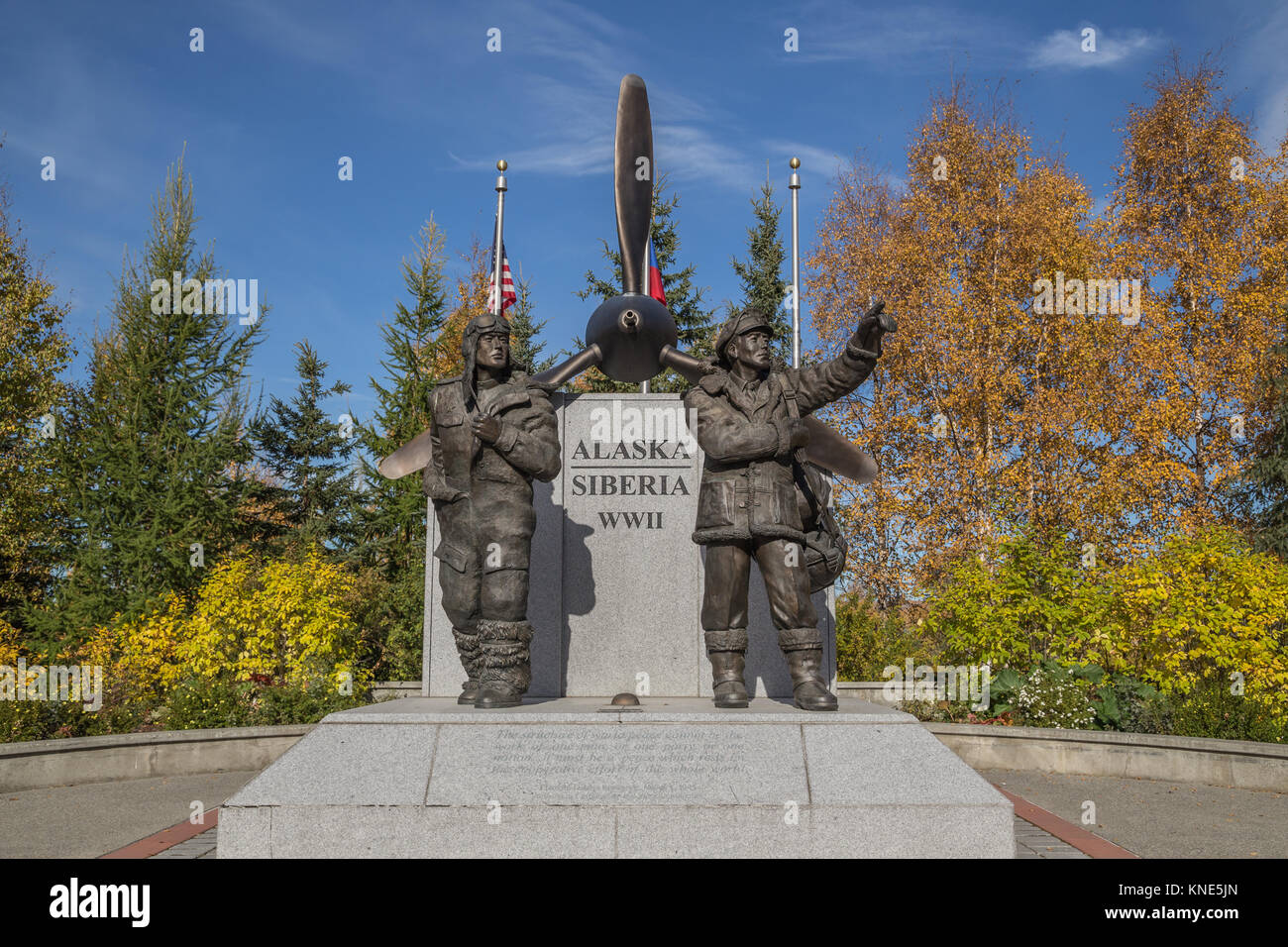 Alaska Siberia Lend-Lease Memorial commemorating US and Russian pilots who flew aircraft and supplies to the Eastern - Stock Image