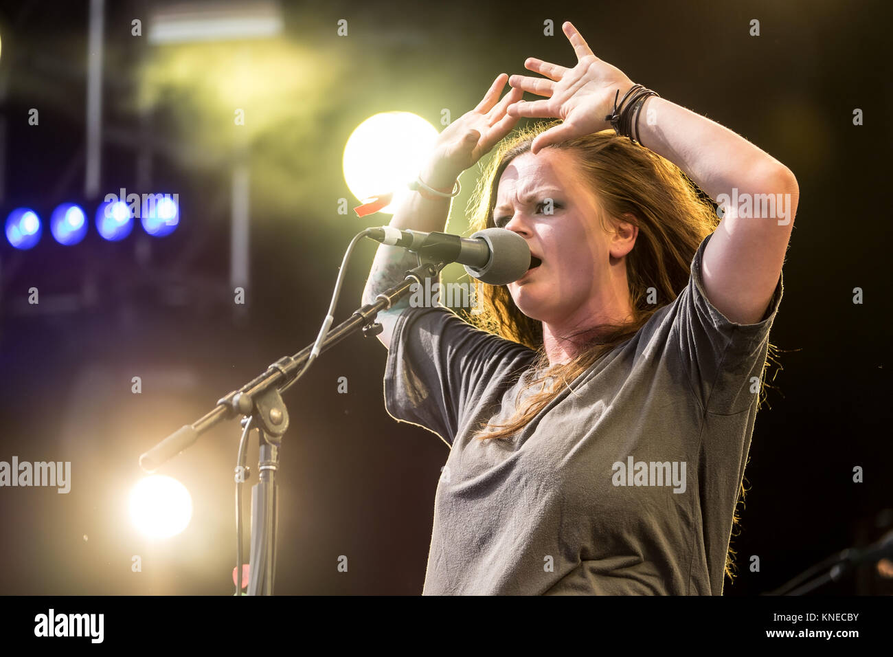 The Norwegian band Katzenjammer performs a live concert at Swiss music festival Gurtenfestival 2015 in Bern. Here - Stock Image