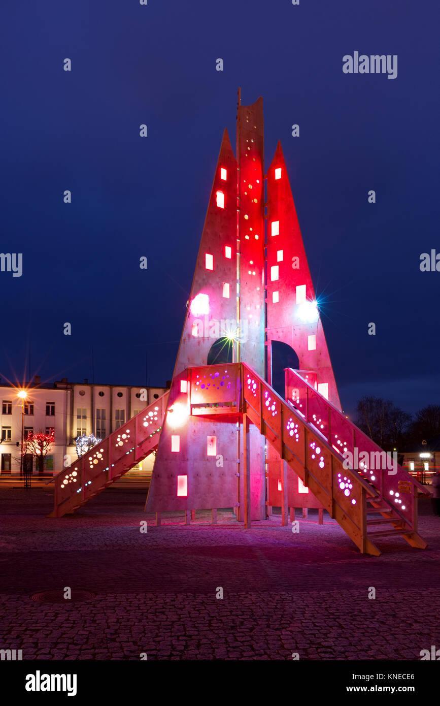 Colorful handmade christmas tree. Rakvere, Estonia. 10th December, 2017. - Stock Image
