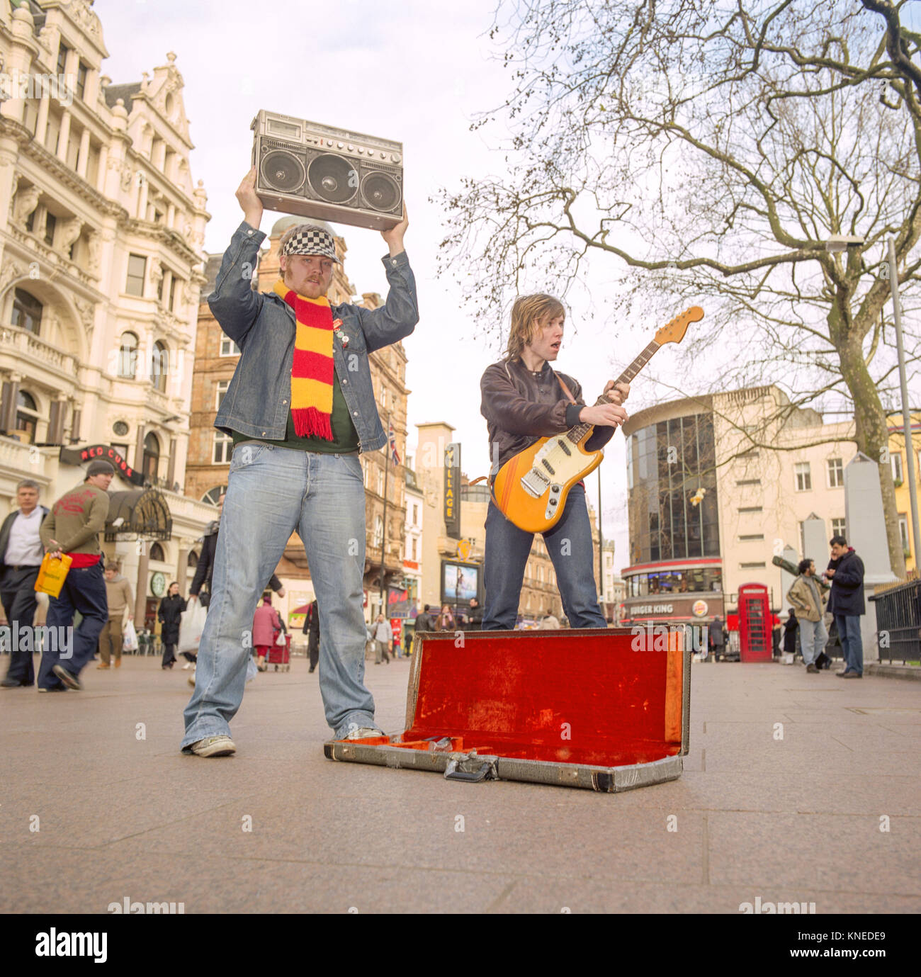 Junior Senior a pop duo from Denmark, photographed busking in , Leicester Square,London England, United Kingdom. Stock Photo