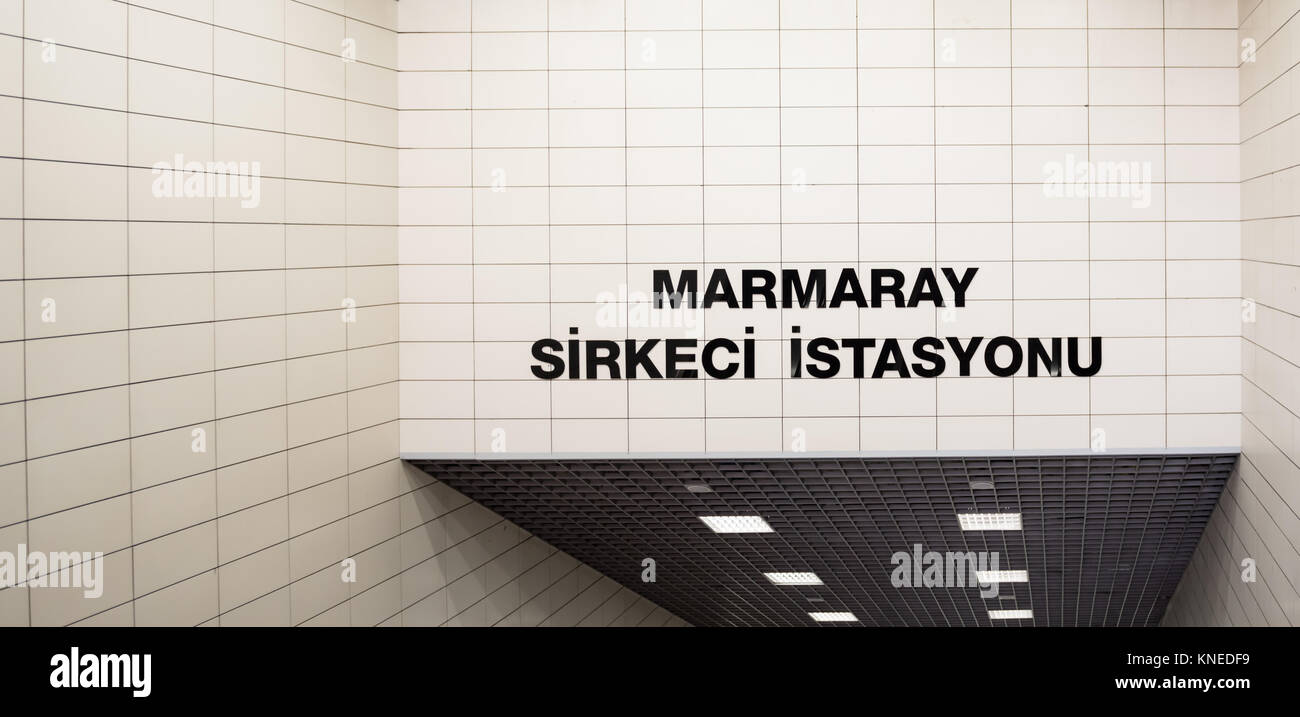 Signboard of entrance of Marmaray Sirkeci train station Istanbul,Turkey. - Stock Image